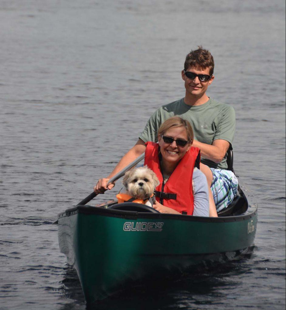 Canoeing on Echo Pond in Rangeley Maine